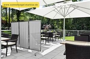 windschutz im garten mit mobilem paravent sonnensegel With französischer balkon mit sonnenschirm stabil wind