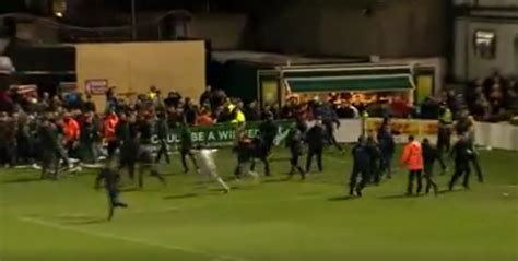 chaos opposing fans fight   pitch  bohemians