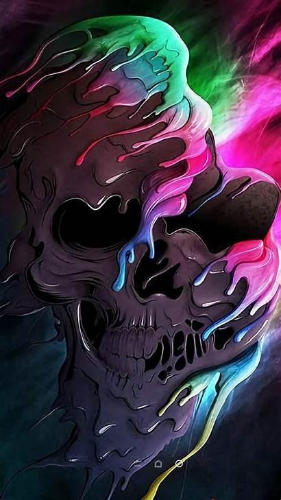 Neon Wallpapers Skull Zedge Skulls Colourful Badass