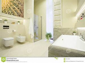 Luxury Bathroom In Pastel Colors Stock Photo