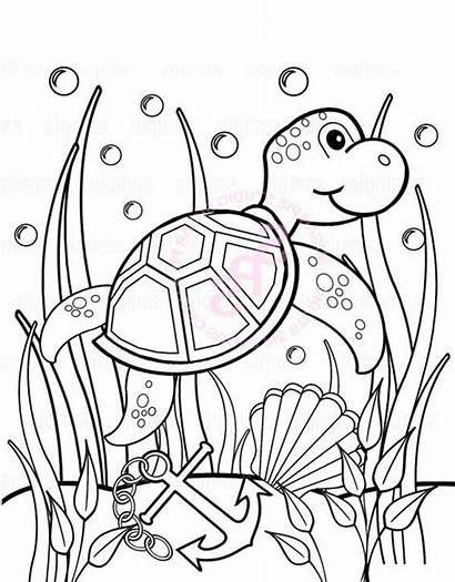 Coloring Turtle Sea Seaweed Sheet Pages Under