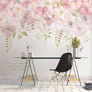 Watercolor, Pink, Flowers, Wallpaper, Wall, Mural, Hanging