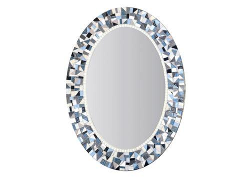 blue  gray mirror oval mosaic mirror bathroom decor