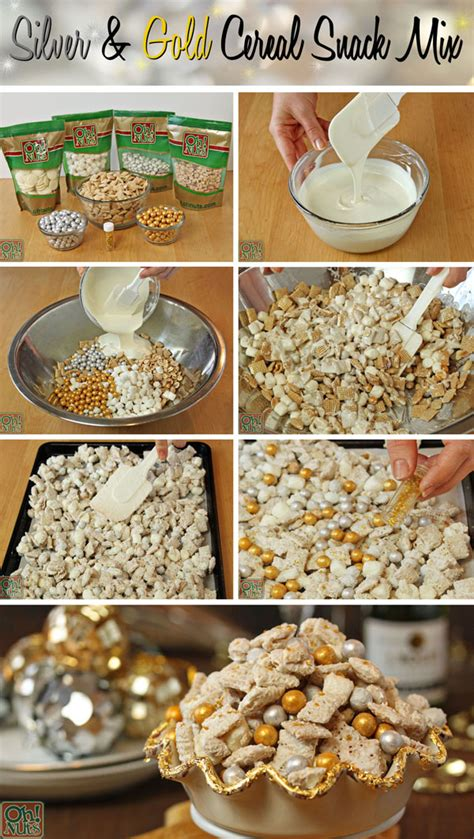 party food idea silver  gold cereal snack mix
