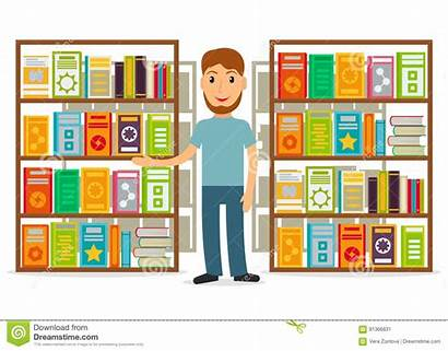 Librarian Male Bookseller Shelves Against Books Bookstore