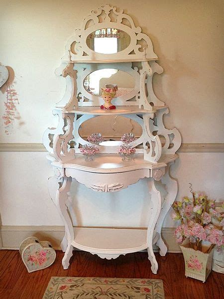 Etagere Shabby Chic by Exquisite White Antique Etagere With Mirrors