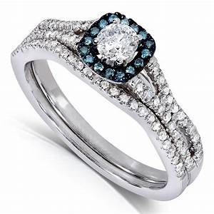 1 carat unique round diamond and sapphire bridal ring set With sapphire and diamond wedding ring sets
