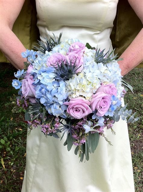 Blue And Lavender Rose And Hydrangea Wedding Bridal