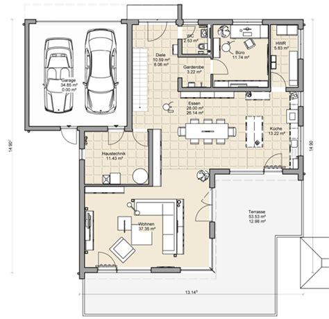 Grundriss Haus Integrierte Garage by Massivhaus Mit Flachdach Beipielplanung 3 Jetzthaus