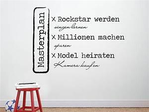 Coole Wandtattoos Jugendzimmer : wandtattoo masterplan rockstar werden wandtattoo de ~ Frokenaadalensverden.com Haus und Dekorationen