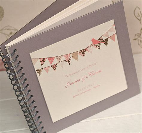 Wedding Guest Book by Bunting Design Personalised Wedding Guest Book By