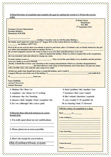 write  letter  complaint worksheets formal