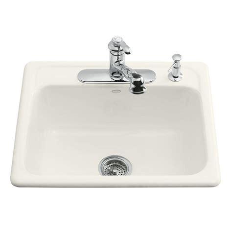 hole in sink basin kohler mayfield drop in cast iron 25 in 3 hole single