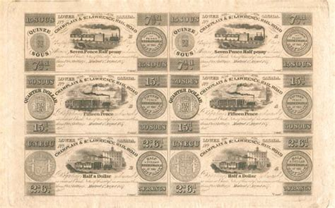 collectible  obsolete currency uncut sheet champlain