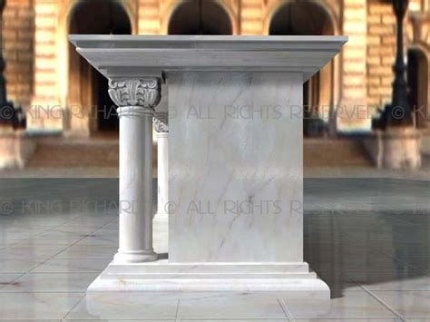 traditional white carrara marble altar table  carved