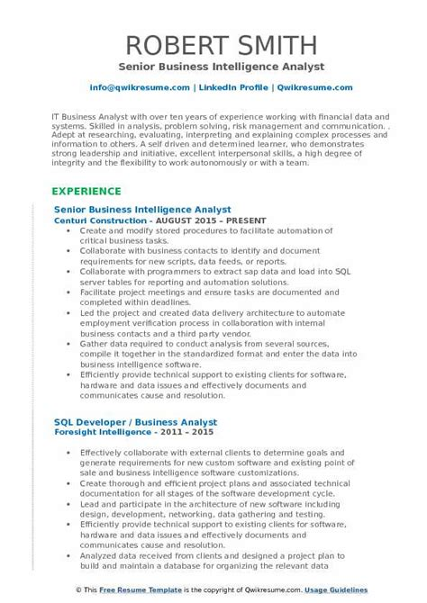 Intelligence Analyst Resume by Business Intelligence Analyst Resume Sles Qwikresume