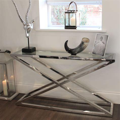 glass and chrome sofa table brooklyn chunky chrome glass console table console