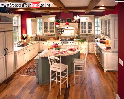 French Country Kitchen Decorating Ideas - wohnideen küche französisch u form insel rote wände youtube