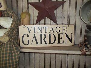 Wood Sign Vintage Garden Country Rustic Prim