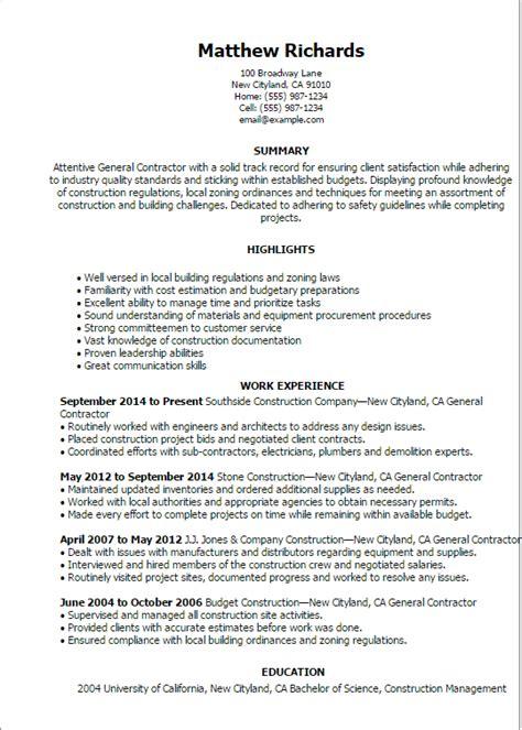 general contractor resume templates