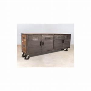 Meuble Bois Recyclé : buffet meuble tv bois recycl roulettes 4 portes m talliques 200x45x77cm caravelle ~ Teatrodelosmanantiales.com Idées de Décoration