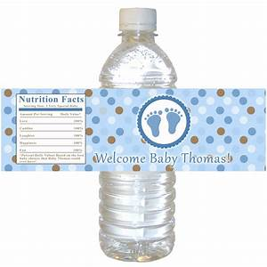 blue brown baby shower bottle label polka dots boy baby With best way to label water bottles