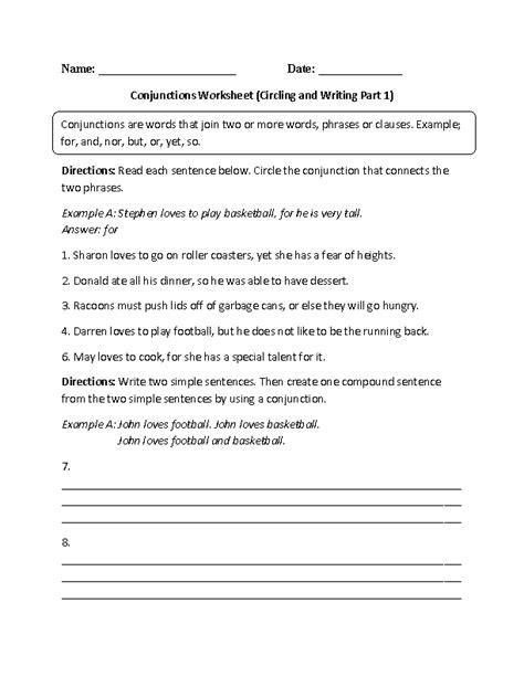 collection of worksheet on conjunctions for class 8