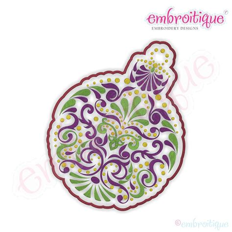 embroitique christmas ornate ornament embroidery design