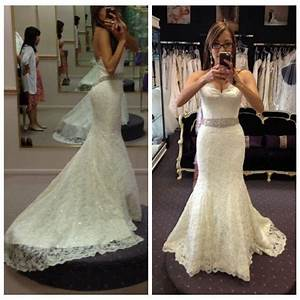 bling low cut back mermaid lace bride wedding dresses With low cut wedding dresses
