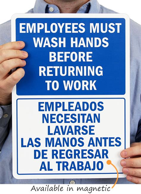 bilingual employees wash hands  returning  work