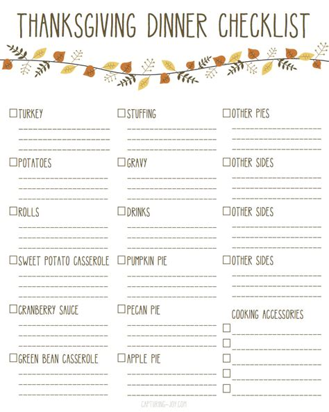 thanksgiving list of foods everything you need for thanksgiving dinner with printable checklist
