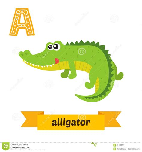 alligator  letter cute children animal alphabet