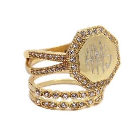 gold cz rimmed octagon monogram stacking ring  monogrammed