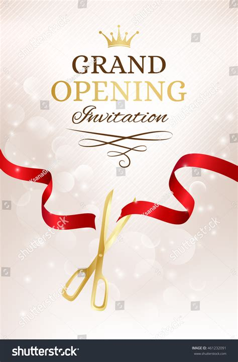 grand opening invitation card cut red stock vector