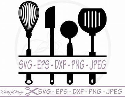 Svg Kitchen Utensils Split Monogram Clip Cricut