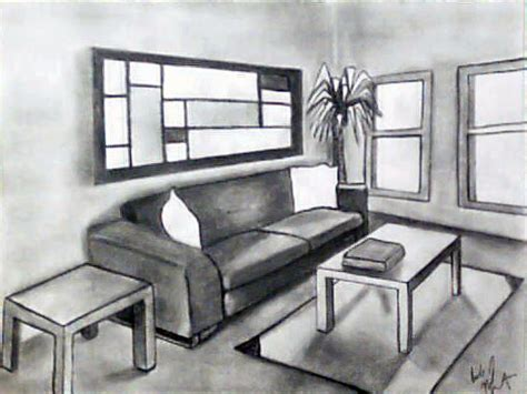 One Point Perspective Living Room Drawing : Empty Room Drawing