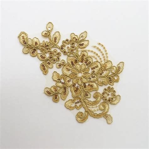 Gold Applique by Sequin Floral Applique Gold Black Sapphire Design