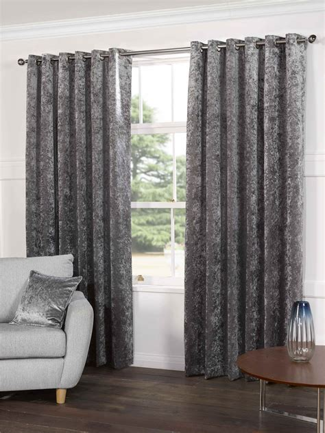 steel silver grey velvet lined ring top eyelet curtains