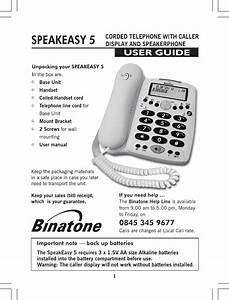 Binatone Speakeasy 5 Users Manual Man Spe5 P65