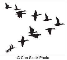 fliegende voegel silhouette ein vogelschwarm zeichnen