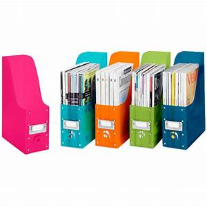 Colorful plastic magazine organizers set of 5 in for Whitmor document boxes set of 5