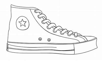 Shoe Template Outline Clipart Converse Drawing Line