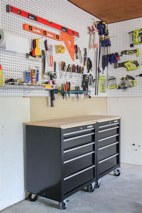 Garage Organization Pegboard by One Stop Workshop Diy Mobile Workbench Pegboard