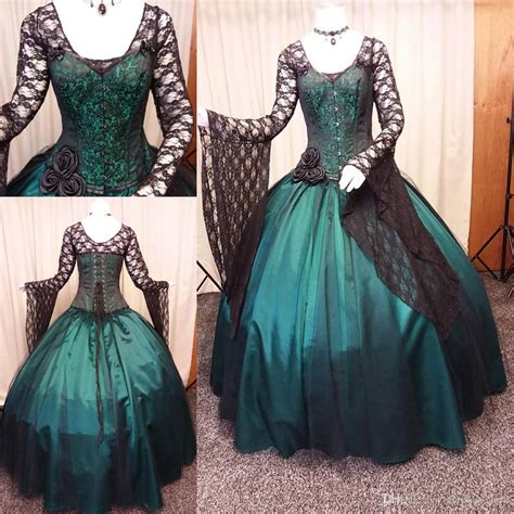 Vintage Black And Green Gothic Wedding Dress 2018 Long