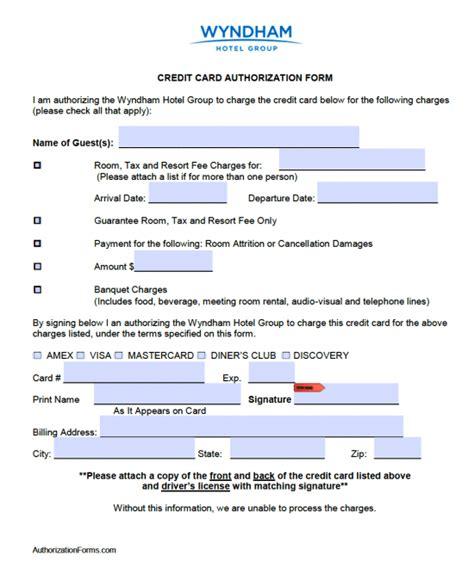credit card authorization free wyndham hotel credit card authorization form pdf word