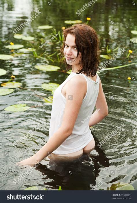 Sexy Girl White Wet Shirt Lake Fotka 79387765 Shutterstock