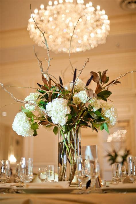 magnolia  hydrangea centerpiece elizabeth anne