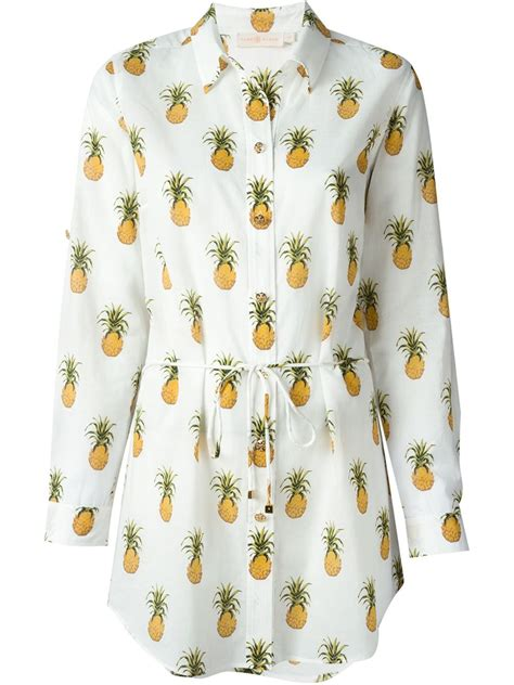 pineapple blouse burch belted pineapple print shirt in white lyst