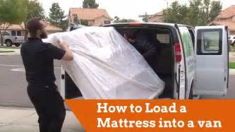 how to move mattress how to load a mattress into a cargo van youtube