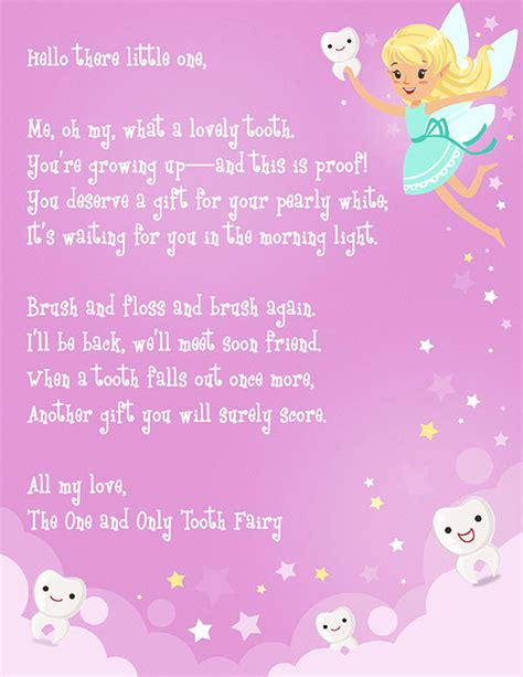 tooth fairy letter  printable elfster
